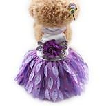 Кошка Собака Платья смокинг Одежда для собак Для вечеринки На каждый день Свадьба Принцесса Черный Лиловый Красный
