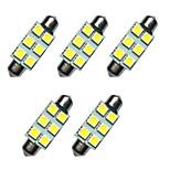 5шт двойные указательные светодиодные фонари 41мм 1w 6smd 5050 чип белый 80-100lm 6500-7000k dc12v подсветка номерного знака