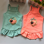 Собака Платья Одежда для собак На каждый день Сплошной цвет Оранжевый Синий Розовый