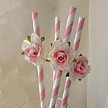 6Pcs/Set   Drinking Paper Straws Rose Flower Design For Birthday Wedding Party Decoration