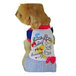 Собака Платья Одежда для собак На каждый день Полоски Пурпурный Кофейный Синий
