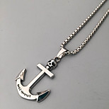 Men's Pendant Necklaces Statement Necklaces Anchor Stainless Steel Titanium Steel Unique Cool Casual Fashion Dangling Style Jewelry