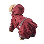 Собака Дождевик Одежда для собак Водонепроницаемый Сплошной цвет Желтый Красный Охотничий зеленый