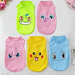 Dog Vest Dog Clothes Casual/Daily Cartoon Blushing Pink Blue Green Ruby Yellow