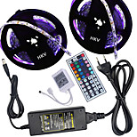 HKV® 1 Pcs 10M(2*5M) NO-Waterproof 5050 RGB 300LED RGB Strip Flexible Light 44Key IR Remote Controller 5A Power Supply AC 100-240V