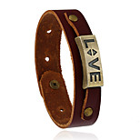 Retro All-Match Love Alloy Accessories Leather Bracelet