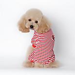 Собака Футболка Одежда для собак На каждый день Полоски Черный Красный Синий