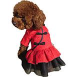 Собака Платья Одежда для собак На каждый день Сплошной цвет Красный