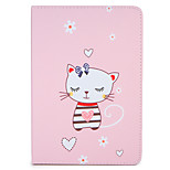 For Apple iPad (2017) Air 2 Case Cover with Stand Flip Auto Sleep/Wake Up Full Body Case Cat Cartoon Hard PU Leather Air iPad234 Mini 1234