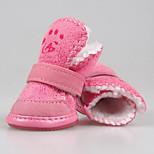 Собака Ботинки и сапоги На каждый день Сохраняет тепло Сплошной цвет Коричневый Розовый