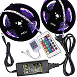 HKV® 1 Pcs 10M(2*5M) NO-Waterproof 5050 RGB 300LED RGB Strip Flexible Light 24Key IR Remote Controller 5A Power Supply AC 100-240V