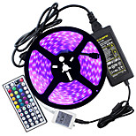 HKV® 1 Pcs Waterproof IP67 5050 LED Strip Light RGB 5 Meters 300LED 5050SMD 44kyes Remote Controller5A Power Adapter AC 100-240V