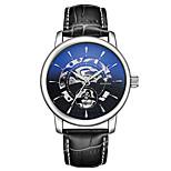 Муж. Часы со скелетом Механические часы Японский С автоподзаводом Фосфоресцирующий Кожа Группа Черный Серебристый металл Коричневый