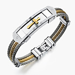 Titanium gold cross between steel wire bracelet man