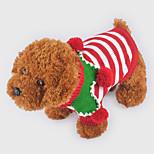 Собака Свитера Одежда для собак Рождество Полоски Красный Зеленый полоса