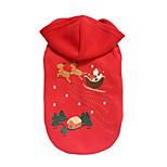 Собака Толстовки Одежда для собак Рождество Северный олень Красный