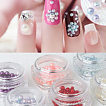 6PCS Nail Art Decoration Rhinestone Pearls Cosmetic Design Nail Drill Mermaid Pearl Nail Sticker Bright Round Pearl Size Mix Candy Color