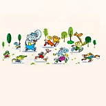 Cartoon Animals Running Wall Stickers Trees Elephant Giraffe Wall Decals Home Decor For Baby Kids Room Living Room