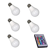 5pcs RGB with Memory Dimmable E27 LED Smart Bulbs A60(A19) RGB Remote-Controlled Home Christmas Decorative RGB Led Lamp AC85-265V
