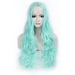 жен. Парики из искусственных волос Без шапочки-основы Длиный Волнистые Синий Парик из натуральных волос Карнавальные парики