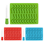 20 Cavity Snakes Worm Silicone Gummy Mold Hard Candy Chocolate Mold Ice Cube Tray Baby Party Shower Cake Decorating Tools Random Color