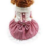 Кошка Собака Платья смокинг Одежда для собак Для вечеринки На каждый день Свадьба В клетку Красный Синий Розовый