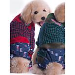 Собака Комбинезоны Одежда для собак На каждый день В клетку Красный Зеленый