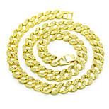 Счастливые куклы мужские 15мм цепи ожерелья rhinestone позолоченные сплава основные круговые панк-ювелирные украшения для дня рождения