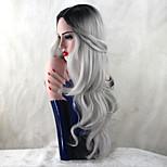 жен. Парики из искусственных волос Длиный Естественные кудри Серый Темные корни Природные волосы Парик из натуральных волос Карнавальные