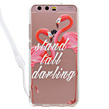 Case For Huawei P10 Lite P10 Flamingo Pattern Acrylic Backplane and TPU Edge Materia Neck Lanyard P9 Lite P8 Lite 2017 P8 Lite