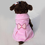 Dog Dress Dog Clothes Casual/Daily Bowknot Blushing Pink Beige