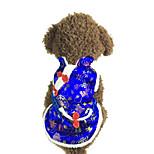 Собака Костюмы Одежда для собак Новый год Вышивка Красный Синий