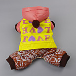 Dog Clothes/Jumpsuit Dog Clothes Casual/Daily Letter & Number Green Brown