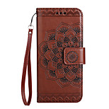 Case for  Huawei P10 Lite Case Cover Card Holder Wallet Flip Embossed Pattern Full Body Case Mandala Flower Hard PU Leather