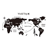 World Map Trip Flying to America Wall Stickers Girls Dragging Suitcase Wall Decals Home Decor Web Map Decals For Living Room KidS Room