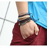Муж. Для пары Кожаные браслеты Винтаж Кожа Геометрической формы Бижутерия Назначение На каждый день