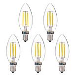 4W LED-hehkulamput C35 4 COB 350 lm Lämmin valkoinen Valkoinen AC 220-240 V 5 kpl