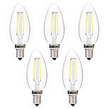 2W LED-hehkulamput C35 2 COB 200 lm Lämmin valkoinen Valkoinen Koristeltu AC 220-240 V 5 kpl