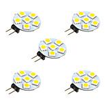 1W Двухштырьковые LED лампы 6 SMD 5050 68 lm Тёплый белый Белый DC 12 V 5 шт.