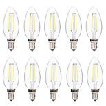 2W LED-hehkulamput C35 2 COB 200 lm Lämmin valkoinen Valkoinen Koristeltu AC 220-240 V 10 kpl