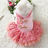 Собака Платья смокинг Одежда для собак На каждый день Новый год Вышивка Лиловый Красный Синий Розовый