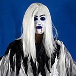 Ужасный зубастый белый длинный волосы привидение лицо латекс мягкая маска halloween party prop костюм mus