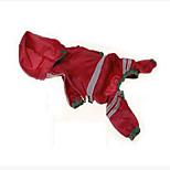Собака Дождевик Одежда для собак На каждый день Водонепроницаемый Сплошной цвет Оранжевый Красный Охотничий зеленый