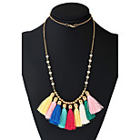 Women's Choker Necklaces Pendant Necklaces Statement Necklaces Basketwork Metal Alloy Resin Rainbow Turkish Tassels Jewelry ForTraveling
