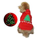 Собака Толстовки Одежда для собак Рождество Цветочные/ботанический Красный