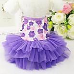 Кошка Собака Платья смокинг Одежда для собак Для вечеринки На каждый день Свадьба Цветочные/ботанический Лиловый Розовый