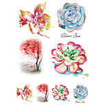 Temporary Tattoos Chest Body Flower Series 3D Rose Waterproof Tattoos Stickers Non Toxic Glitter Large Fake Tattoo Halloween Gift 22*15cm