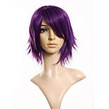 жен. муж. Парики из искусственных волос Без шапочки-основы Короткий Прямые Фиолетовый Парики для косплей Карнавальные парики