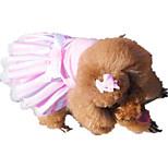 Собака Платья Одежда для собак На каждый день Полоски Розовый
