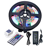 HKV® 1 Pcs 5M NO-Waterproof 3528 RGB 300LED RGB Strip Flexible Light 44Key IR Remote Controller 5A Power Supply AC 100-240V